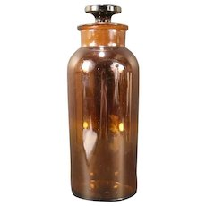 LG 1800s Antique Amber Glass Apothecary Pharmacy Medical Bottle Store Jar