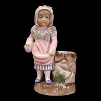 1800's Dresden German Porcelain Figure Figurine Statue Match Safe Holder Jar