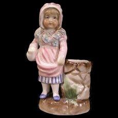 1800's Dresden German Porcelain Figure Figurine Statue Match Safe Holder Jar