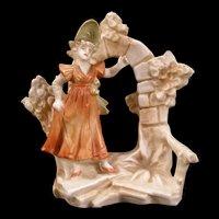 1800's Victorian Porcelain Bud Spill Vase Figure Figurine Girl German Flower Posy