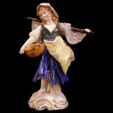 Antique German Porcelain Figure Figurine Statue A J. Uffrecht Fishing Dresden