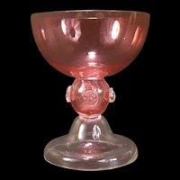 19c Moser Bohemian Blown Cut Cranberry Glass Dram Goblet Wine Stem Applied Punts