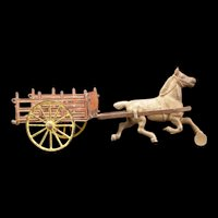1800's Cast Iron Farm Hay Wagon Horse Drawn Stake Rack Bed Cart Harris Arcade Toy