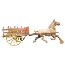 1800's Cast Iron Farm Hay Wagon Horse Drawn Stake Rack Bed Cart Harris Arcade Toy