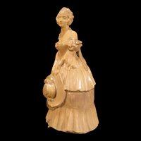 Vintage Chalkware Southern Lady Belle Woman Doorstop Figure Figurine Paperweight Hat Door Stop