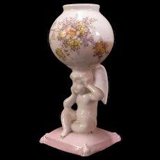 Antique Angel Cherub Enamel Soft Paste Porcelain Spill Vase Match Safe Holder~
