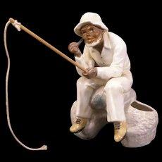 1940's African Black Americana Porcelain Match Safe Holder Figurine Fishing Toothpick Figure
