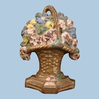 Antique Hubley Cast Iron Daisy Rose Flower Garden Bouquet Basket Doorstop Door Stop