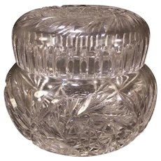 Lg Cut ABP Brilliant Crystal Glass Powder Jar Trinket Dresser Jewelry Vanity Box