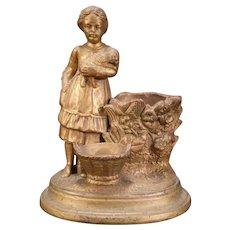 1800's Redware Pottery Sheep Girl Figure Match Safe Holder Spill Vase Cigar Stand