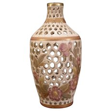 Antique Royal Rudolstadt Porcelain Pottery Hand Painted Vase Enamel Gold Gilt