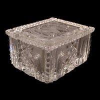Antique Czech Bohemian Intaglio Cut Glass Jewelry Trinket Casket Box Jar Dresser Powder
