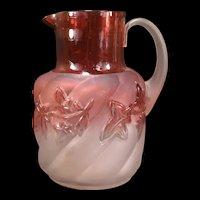 LG 1890's Antique Northwood Royal Ivy Cranberry Rubina Satin Swirl Glass Pitcher