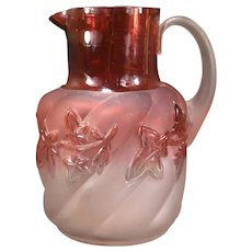 LG 1890's Antique Northwood Royal Ivy Cranberry Rubina Satin Swirl Glass Pitcher