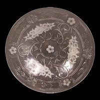 1930's Signed Webb Corbett England Cut Etched Engraved Crystal Glass Fruit Plate Dish Bowl