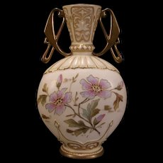 1800's Art Nouveau Austrian Carlsbad Porcelain Pottery Urn Flower Gold Gilt Vase Jewel
