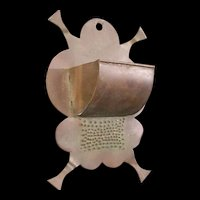 Early American Folk Art Hand Made Cut Wrought Copper Match Holder Safe Punched Primitive