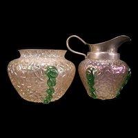 Early 1900's Loetz Kralik Bohemian Blown Iridescent Green Crackle Glass Cream Sugar Pitcher Bowl Dish