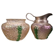 Early 1900's Loetz Kralik Bohemian Blown Iridescent Green Crackle Glass Cream Sugar Pitcher Bowl Dish