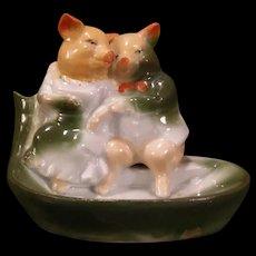 Antique German Bisque Porcelain Pink Pig Fairing Figure Statue Anthropomorphic