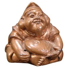 Vintage Buddha Happy Lucky Bronze God Statue Figure Sculpture Buddhism Japanese