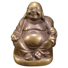 Vintage Buddha Laughing Happy SOLID Bronze Statue Figure Sculpture Buddhism Bust