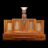 1920's Art & Crafts Dresser Box Vanity Mirror Picture Frame Lamp Folk Tramp Jewelry