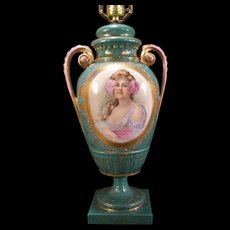 Antique Art Nouveau Flower Girl Portrait Beehive Mark Royal Vienna Urn Lamp Gilt