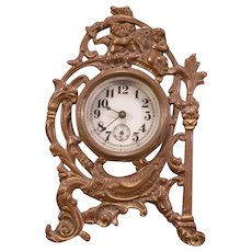 19c Victorian Bronze Cherub Angel Figure Neoclassical Shelf Mantle Case Clock