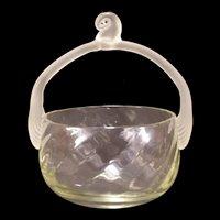 Rare Lalique Art Glass Blown Optic Basket Reeded Satin HandleThreaded Romania