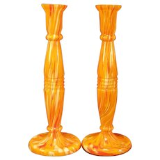 1930's Art Deco Czech Welz EOD Bohemian Spatter Glass Kralik Ruckl Candle Holder Sticks