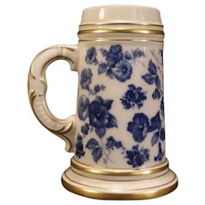 Vintage KPM German Porcelain TransferWare Beer Stein Portrait Lithophane Tankard