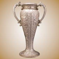 LG Vintage Silver Repousse Relief Embossed Scenic Portrait Loving Cup Trophy Flower Vase