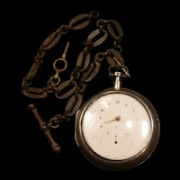 1820 Tobias Filigree Movement Lais Coin Silver Verge Fusee Pear Key Pocket Watch