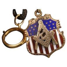 1896 Jr. O.U.A.M. Masonic Pocket Watch Mourning Chain Gold Filled ENAMEL GF FOB
