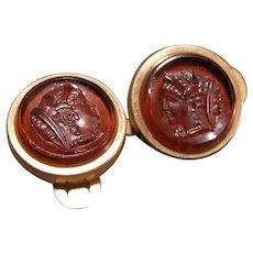 19 c Victorian Gold Filled Goddess Bust Figure Roman Greek Cameo Cufflink Button