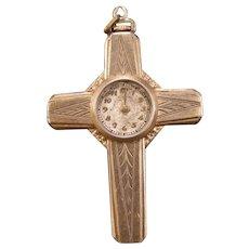 1870 Victorian 10K Gold Filled Pocket Watch Fob Cross Pendant Nurse Watch