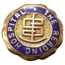 Vintage 14K Gold Blue Enamel Reading Hospital Pin Badge Nursing Medical School