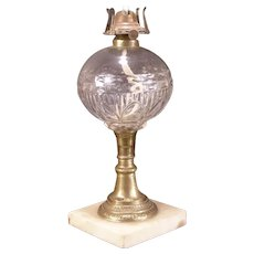 Antique 19 c RARE Pattern Ring Punty Marble Brass EAPG Blown Glass Oil Lamp 1800