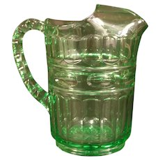 RARE 30s Fostoria Elegant Depression Glass Green Hermitage Water Ice Lip Pitcher