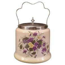 Antique Victorian Silver Pottery Cookie Cracker Biscuit Jar Violets Flowers Box