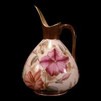 19c Antique ADDERLEY English Pottery Vase LILY Flower Ewer Pitcher Transferware