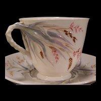 """1901 Black Mark Belleek Blue """"Grass"""" Cup & Saucer Set China Fine Paste Porcelain"""