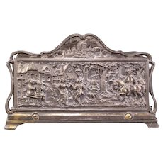 Early 1900's Silver Bas Relief Panel Letter Holder Sculpture Plaque Decorated Desk Rack