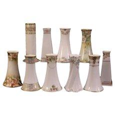 Group 10 Vintage Nippon Porcelain China Hand Painted Floral HatPin Holder Vase