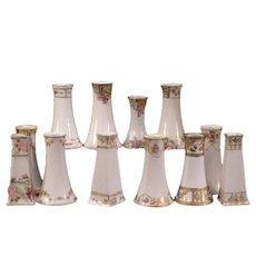 Group 12 Vintage Nippon Porcelain China Hand Painted Floral HatPin Holder Vase