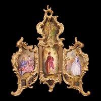 19c Antique Red French Enamel Bronze H-Painted Miniature Screen Portrait Figure