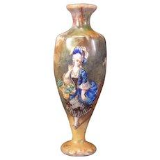 19c Antique French Foil Enamel Copper Girl Portrait Flower Basket Limoges Vase~