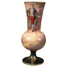 19c Nouveau French Foil Enamel Copper Portrait H-Painting Scenic Limoges Vase