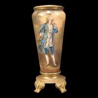 19c Bronze Mounts French Foil Enamel Copper Portrait Limoges Gold Gilt Vase Hat